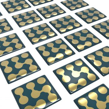 Doming Sticker, flat surfaces, square, gold gloss